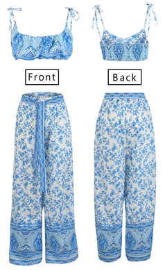 Boho Blue Floral 2 Piece Set