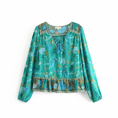 BoHo 'Sea Queen' Teal Blouse