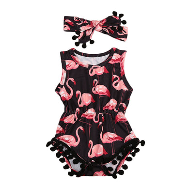 Flamingo Romper Tassel With Headband