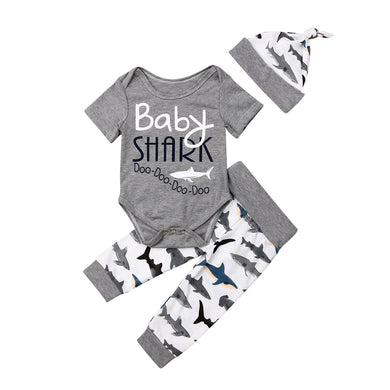 Baby Shark Boy Cotton Bodysuit+Long Pants + Hat 3pcs Set