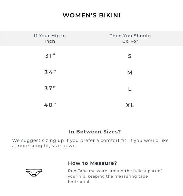 The Flaming-O-Undies (Women's Bikini) Size Guide