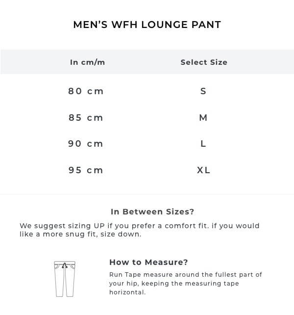 The Charcoal WFH Lounge Pant Size Guide