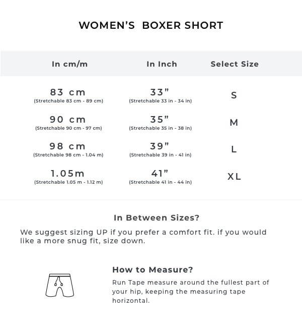 The Monkeying Arounds Women WFH Shorts Size Guide