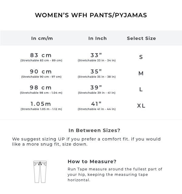 The Rural Floral Women Summer PJ Pants Size Guide