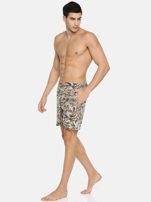 The Beige Rust Tropical Print Boxer