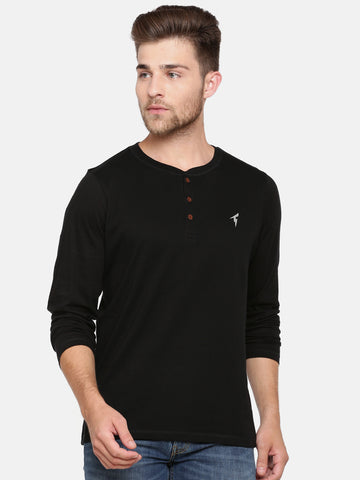 Bareblow Long Sleeve Black Henley