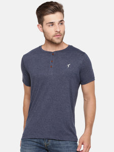 The Short sleeve Blue Marl Henley