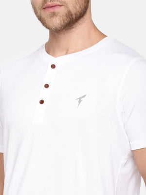 The Short sleeve White Henley