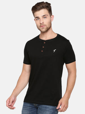 The Short Sleeve Black Henley