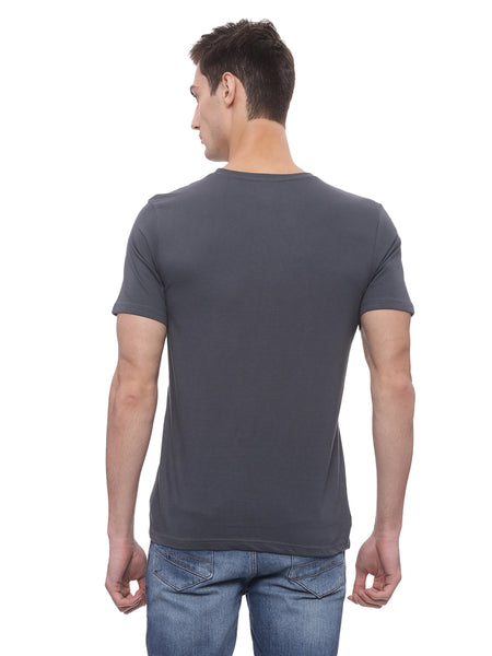 Bareblow T-Shirt with Crew Neck in Charcoal Grey