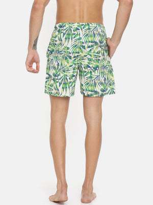 Bareblow White Green Yellow Tropical Print Boxer