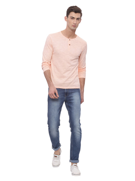 Bareblow Long Sleeve T-Shirt With Henley Neck In Coral Pink
