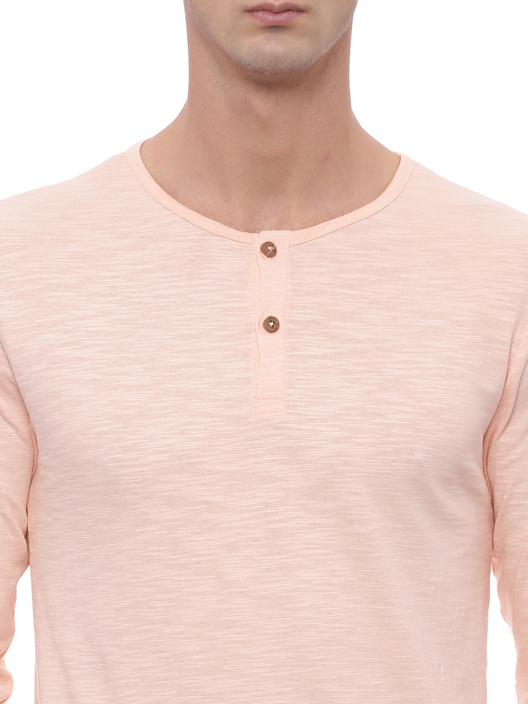 The Long Sleeve Coral Pink Henley