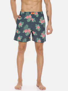 Bareblow Chambray Floral and Leaf Print Boxer