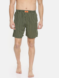 Bareblow Olive Green Striped Boxer