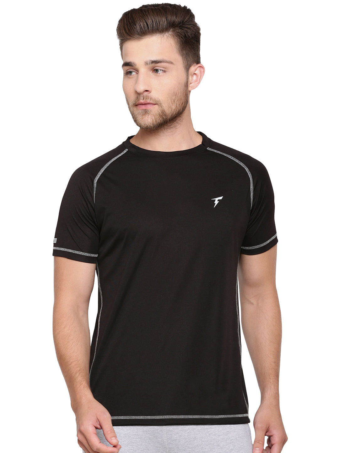 Raglan Sleeve Athletic Tee - Black