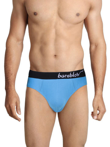 BAREBLOW Men Bikini Brief in Azure Blue With Branded Waistband