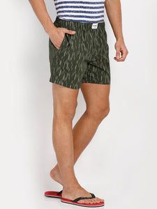 Bareblow Woven Boxers in Army Green Self Print