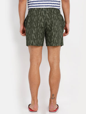 The Woven Boxers in Army Green Self Print