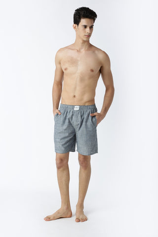 Bareblow Linen Boxers in Grey and White Stripes