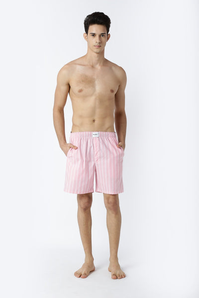 Bareblow Woven Boxers in Classic Pink Stripes