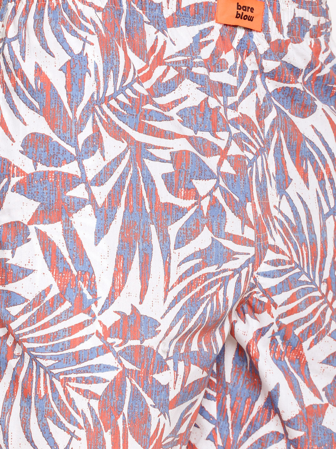 The White Rust Blue Tropical Print