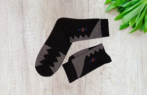 Bareblow FLORAL DRESS CALF Socks White Black