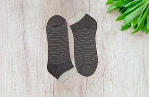 Bareblow Stripe Dream Quarter Socks - Grey