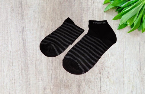 Bareblow BRUSH STRIPE ANKLE SOCKS Grey Black Striper