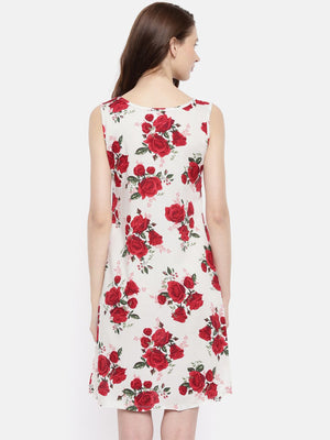 The White & Red Printed Sheath Dress