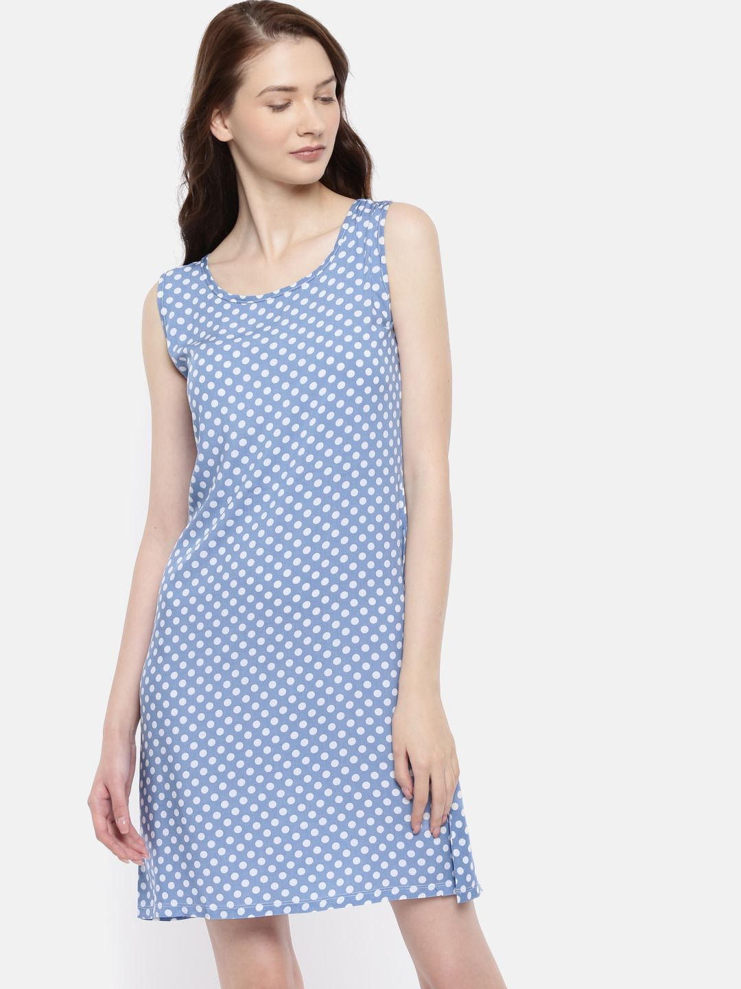 The Blue & White Printed A-Line Dress