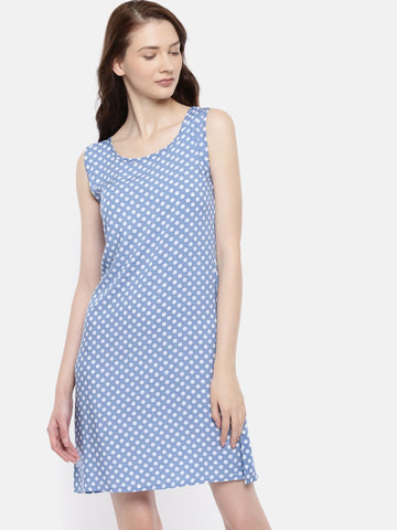 The Blue & White Printed WFH A-Line Dress