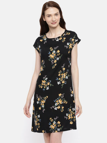 The  Black Printed Sheath Dress