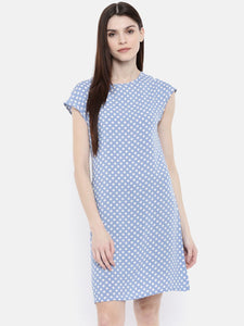The Blue Printed WFH Sheath Dress