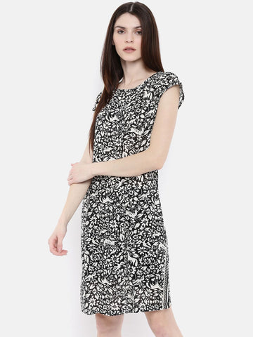 The Black Printed A-Line Dress