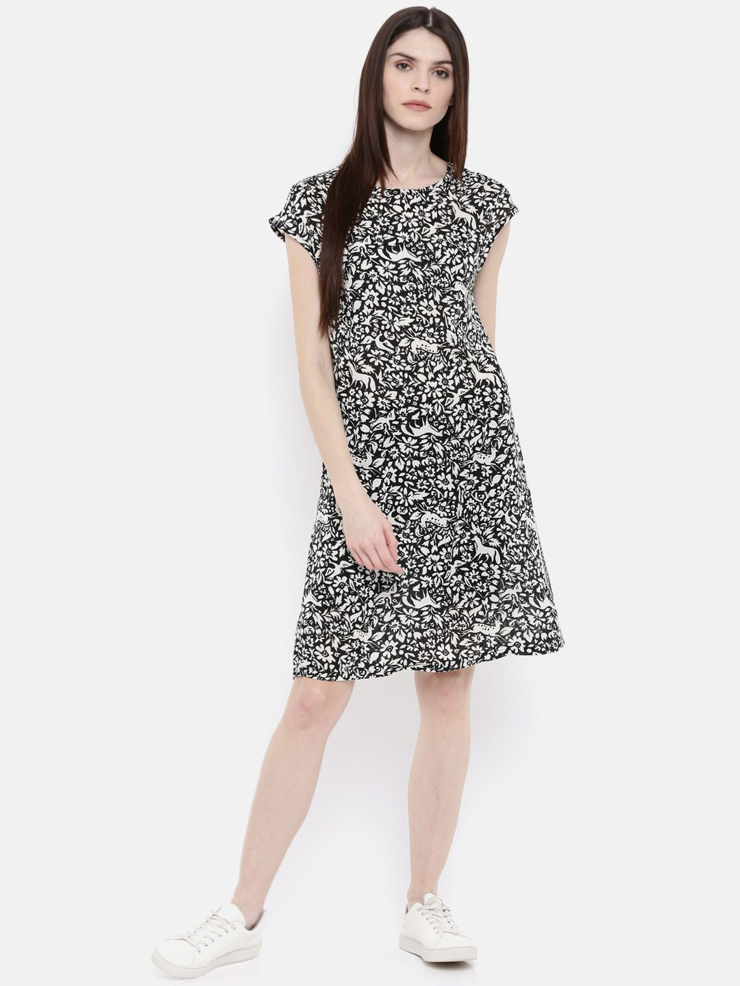 The Black Printed WFH A-Line Dress