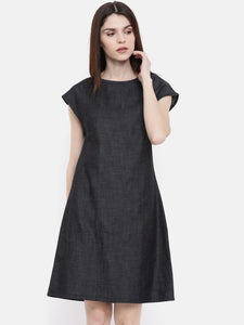 The Navy Solid A-Line WFH Chambray Dress