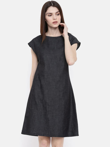 The Navy Solid A-Line Chambray Dress