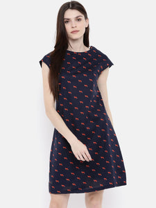 Bareblow Women Navy & Red Printed A-Line Dress
