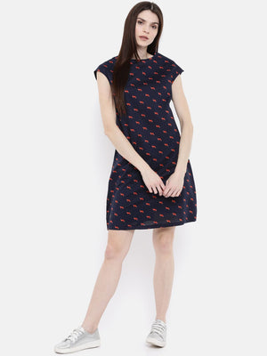 The Navy & Red Printed WFH A-Line Dress