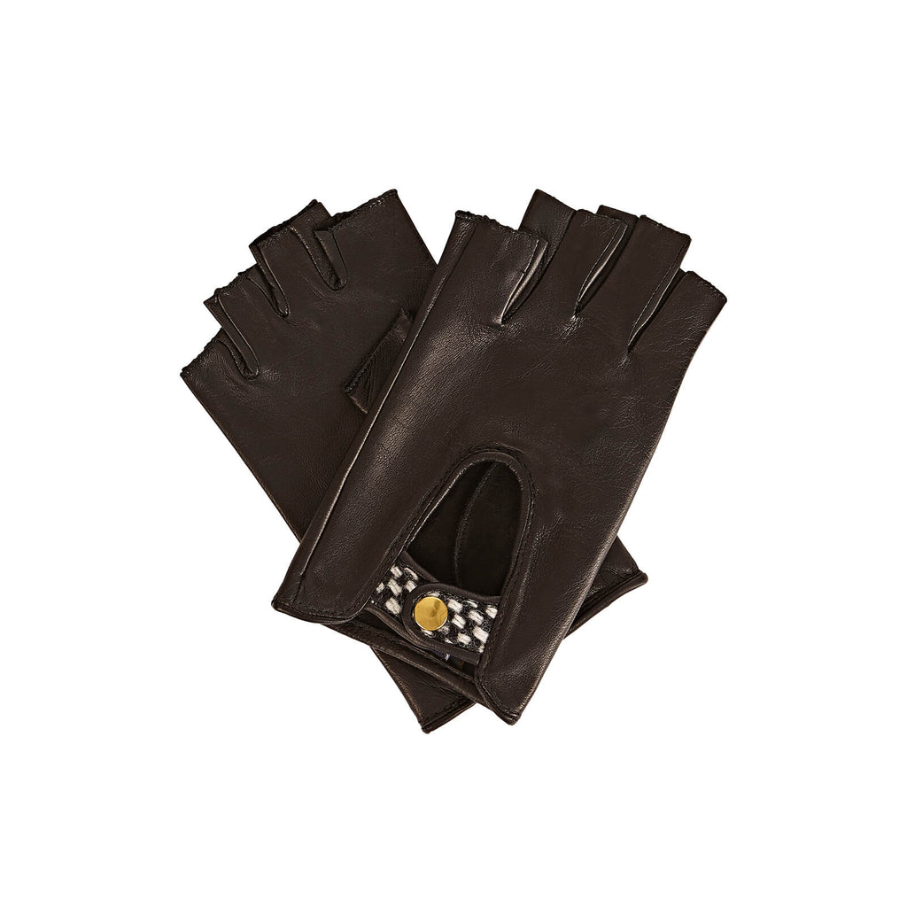 Gizelle Renee Serena Nappa Lambskin Fingerless Leather Driving Glove in Black