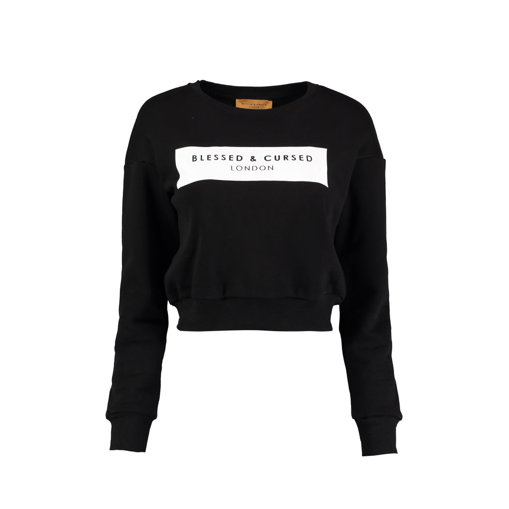 Blessed & Cursed Cropped Logo Sweat-Shirt - Black
