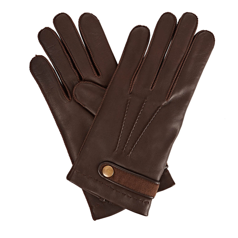 Gizelle Renee Alfie Brown Cashmere Strap Embellished Leather Glove