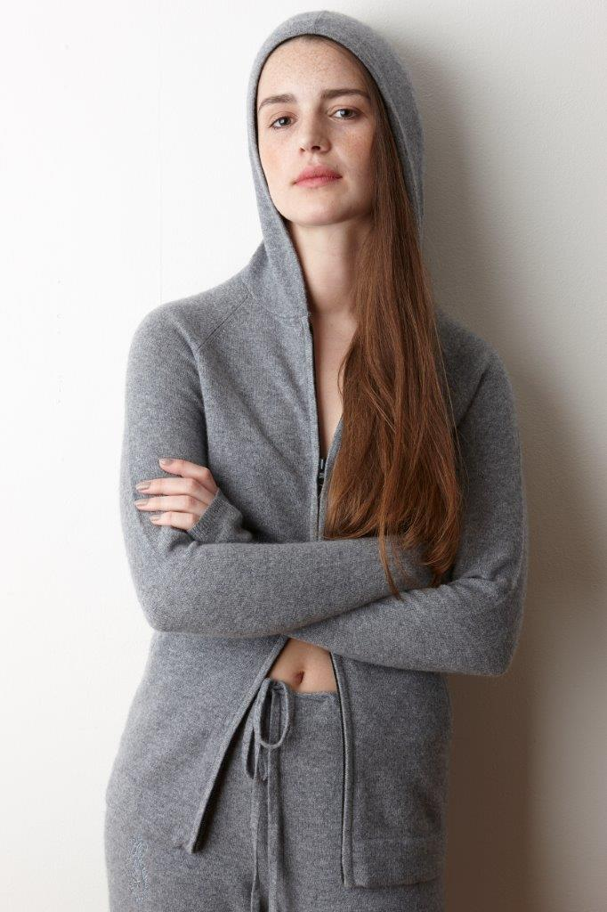 Cashmere Hooded Zip Top