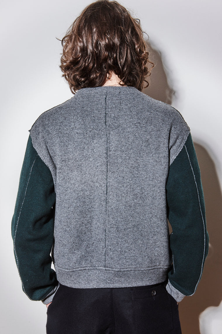 Collins Colour Block Knitted Bomber - Grey/Green