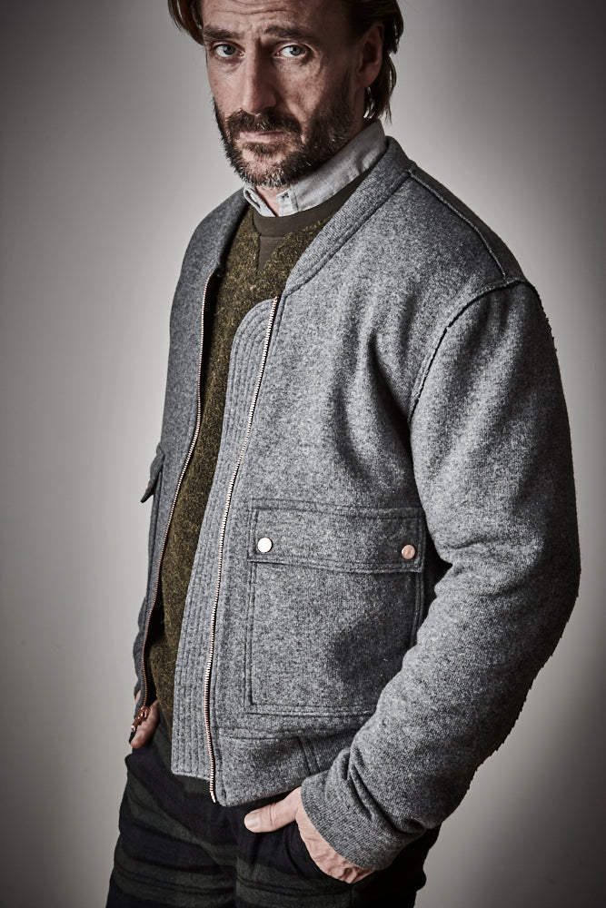 Collins Wool Knitted Bomber - Grey Marl