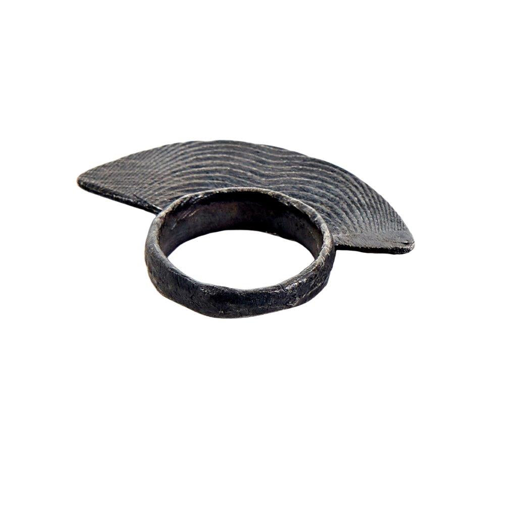 Tundra Jewellery Mohawk Oxidized Silver Ring - Black