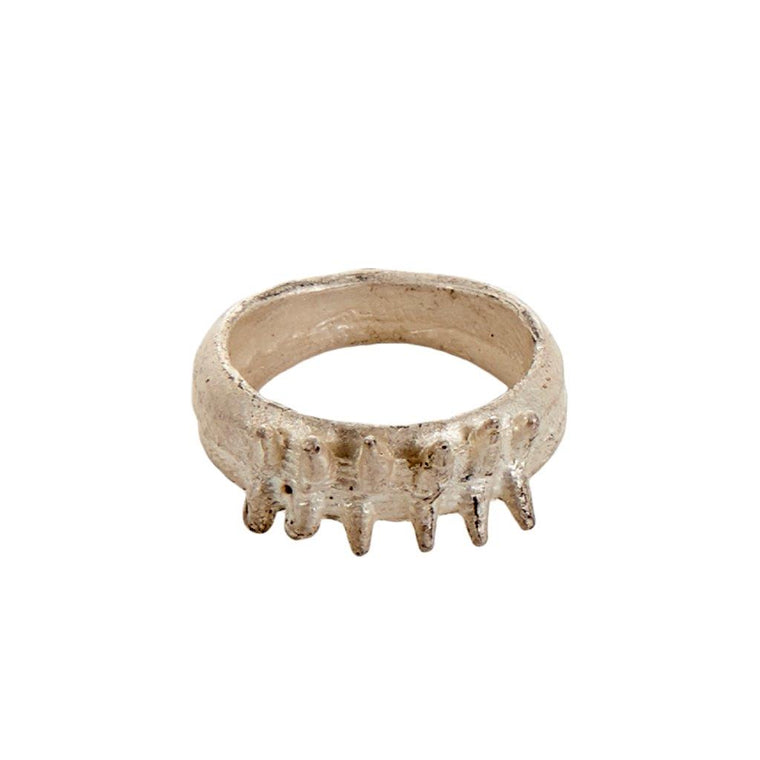Tundra Jewellery Humla Big Spike Oxidized Silver Ring  - White