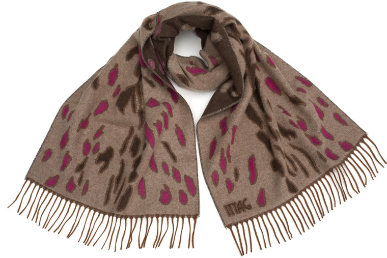 Bobcat Scarf in Natural / Fuschia