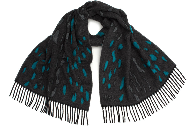 Bobcat Scarf in Grey / Cyan